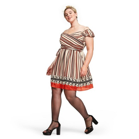 Women\'s Plus Size Striped Off the Shoulder Silk Mini Dress - Anna Sui for  Target Cream/Orange 3X