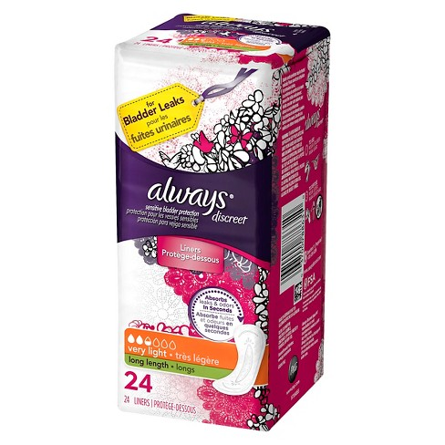 Always Discreet Incontinence Liners Very Light Long Length Size 2 - 24ct - image 1 of 1