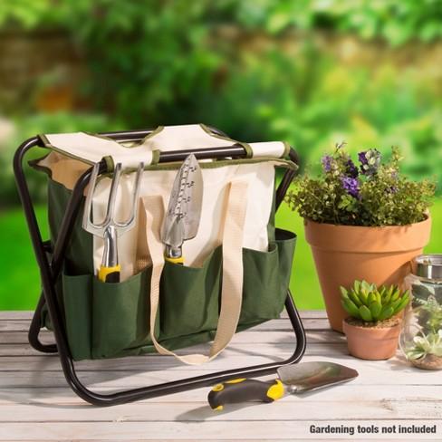 Fabulous 15 Metal Folding Garden Stool With A Tool Bag Green Pure Garden Creativecarmelina Interior Chair Design Creativecarmelinacom
