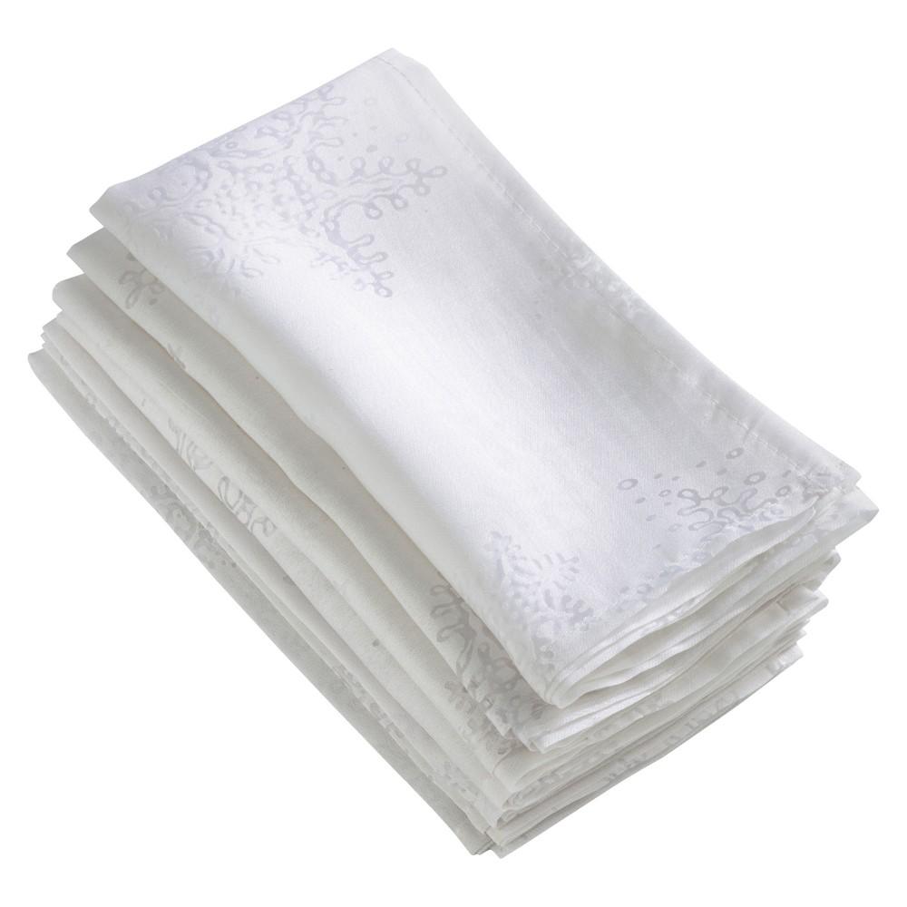 White Burnout Snowflake Napkin (20) - Saro Lifestyle