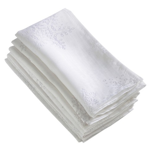 "White Burnout Snowflake Napkin (20"") - Saro Lifestyle® - image 1 of 1"