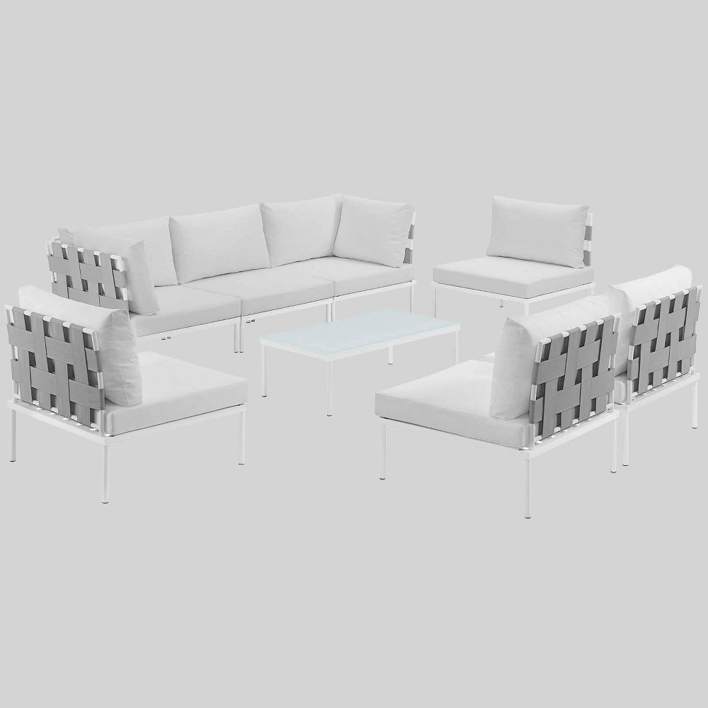 Harmony 8pc Aluminum Outdoor Patio Sectional Sofa Set - White - Modway