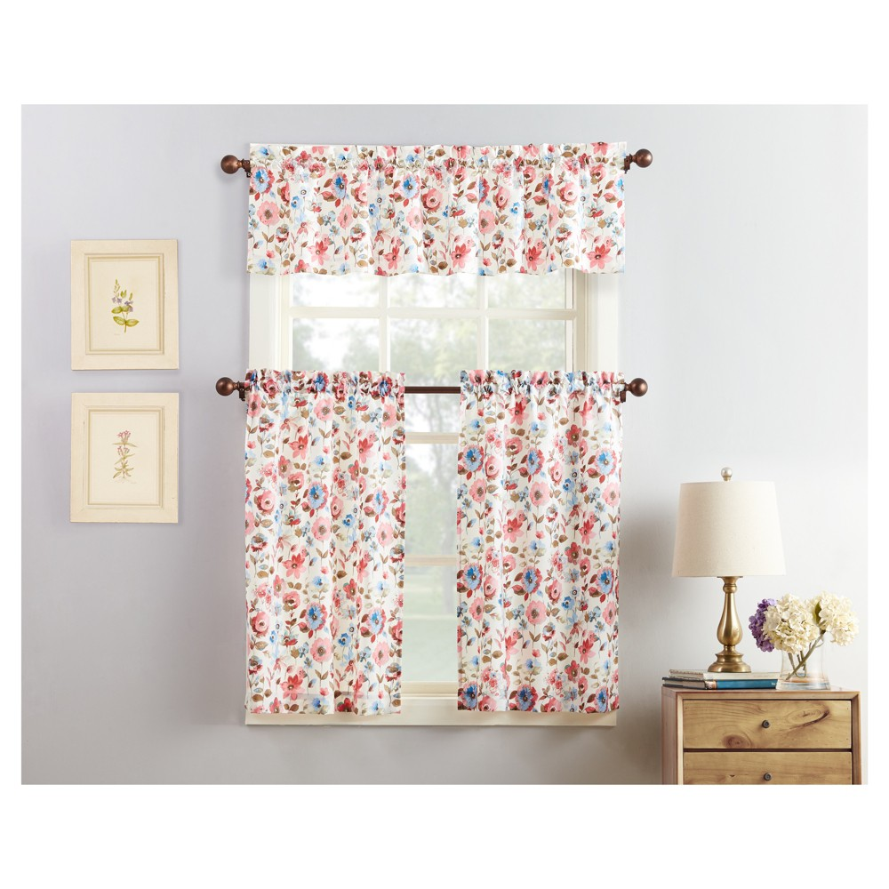 "Image of ""36""""x27"""" Dora Floral Print Microfiber 3pc Kitchen Curtain Valance and Tier Set Coral (Pink) - No. 918"""
