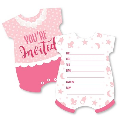 Big Dot of Happiness It's a Girl - Shaped Fill-in Invitations - Pink Baby Shower Invitation Cards with Envelopes - Set of 12