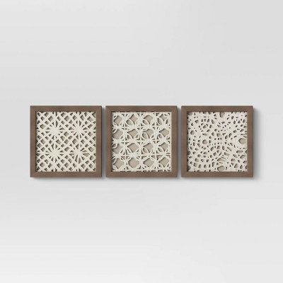 "(Set Of 3)10"" x 10"" Rice Paper Shadow Box - Threshold™"