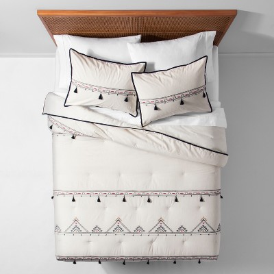 White Embroidered Tassel Comforter Set (Twin/Twin XL)- Opalhouse™