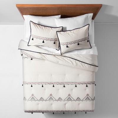 White Embroidered Tassel Comforter Set (Full/Queen)- Opalhouse™