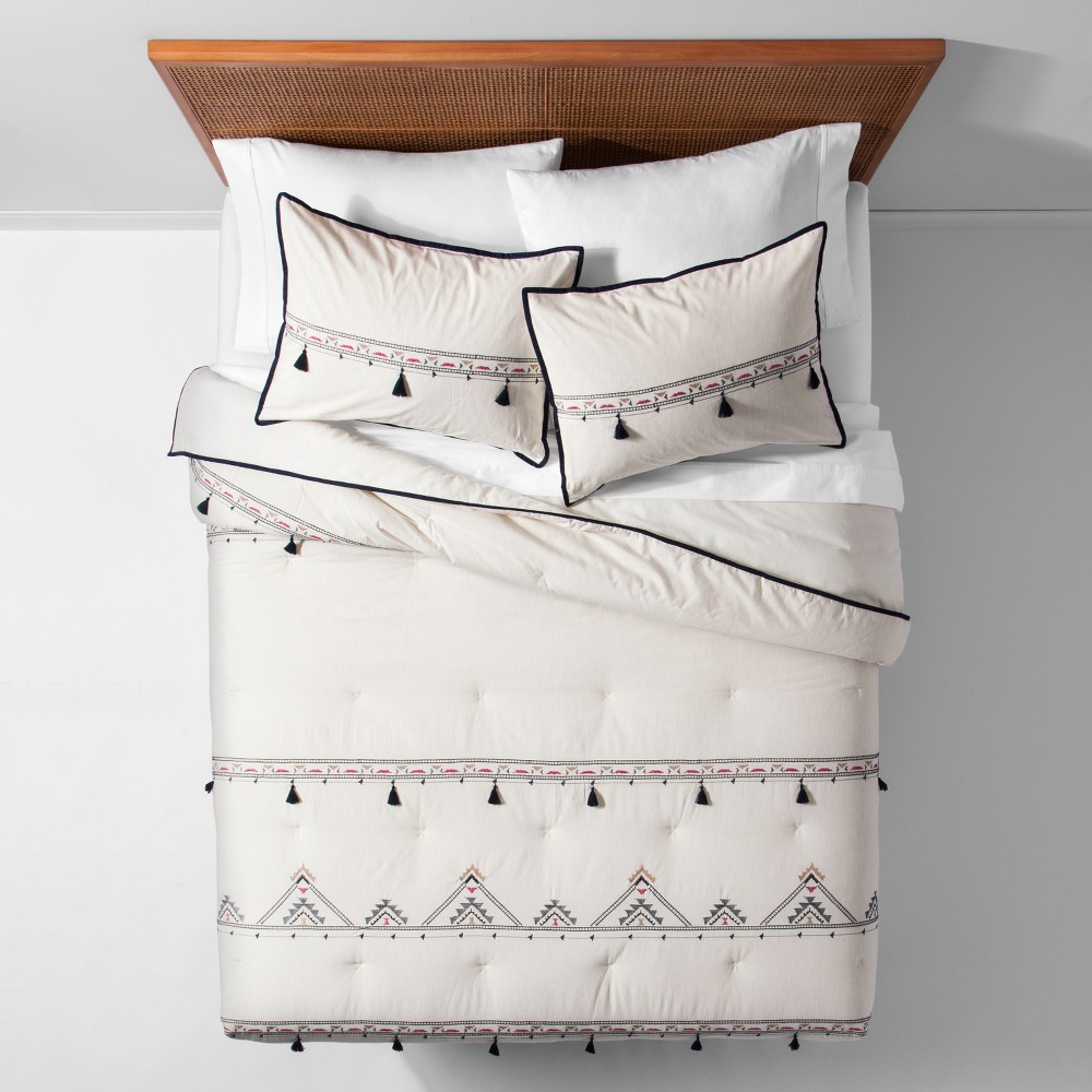 White Embroidered Tassel Comforter Set (Twin/Twin XL) - Opalhouse, Beige