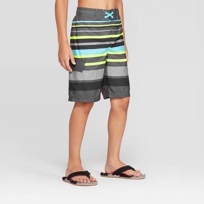 Boys' Stripe Swim Trunks - Cat & Jack™ Gray S