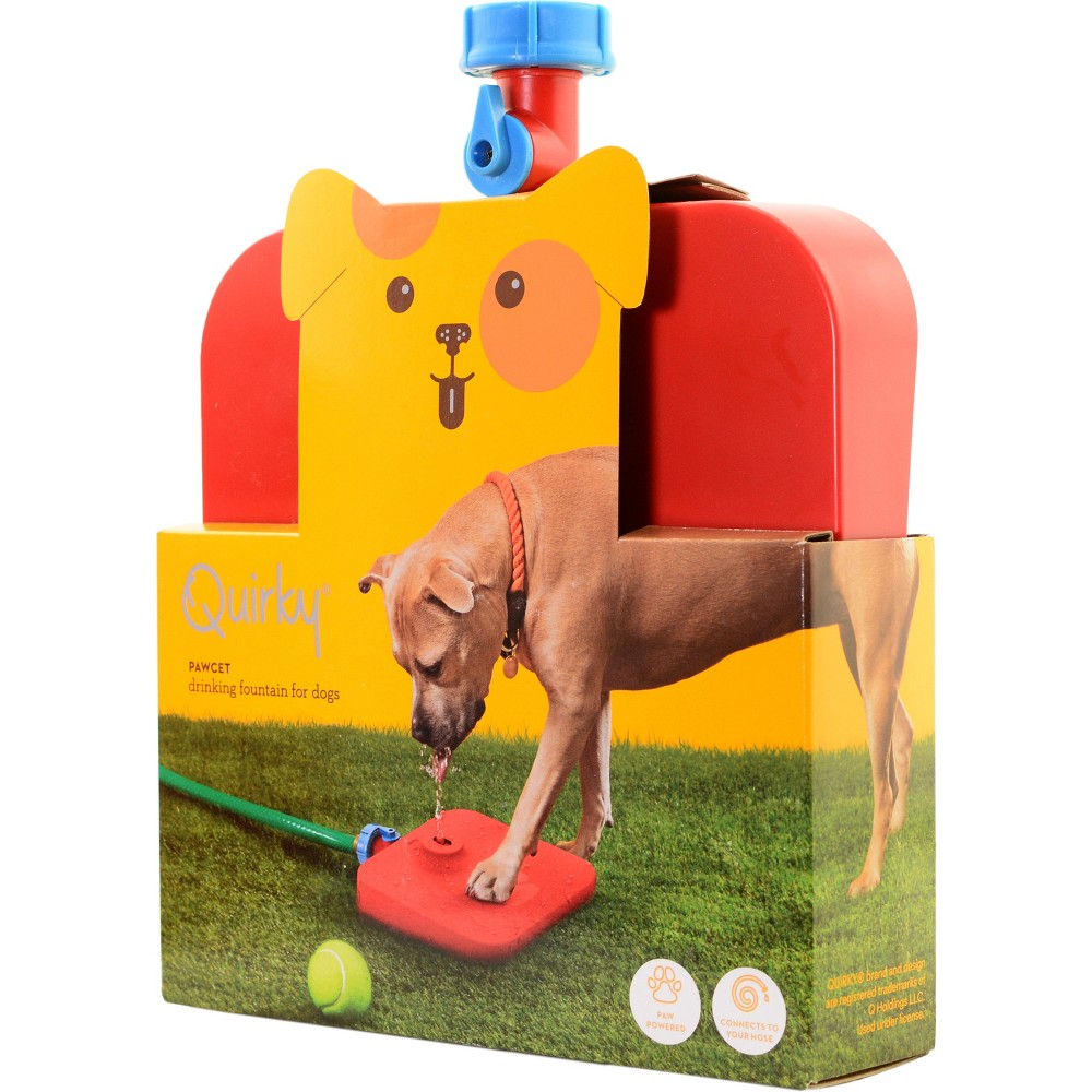 Image of Quirky Pawcet Drinking Fountain For Dogs Red