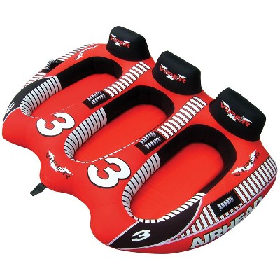 Airhead AHVI-F3 Viper 3 Triple Rider Cockpit Inflatable Towable Lake Boating Water Tube with Handles, Tow Point, and 30 Gauge Bladder