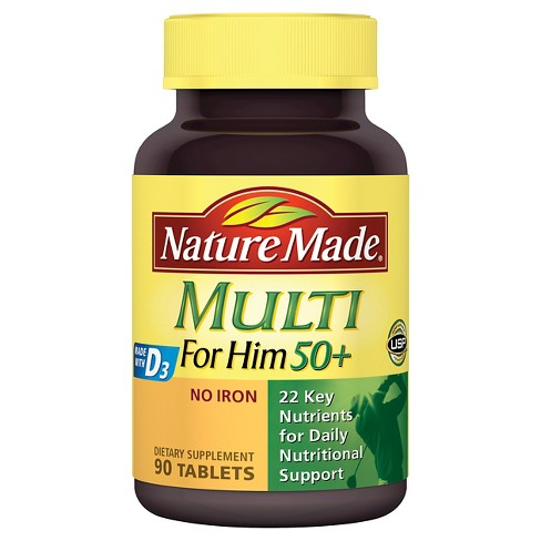 Nature Made For Him 50+ Multi Dietary Supplement Tablets - 90ct - image 1 of 3
