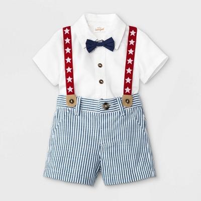 Baby Boys' Americana Star Top & Bottom Set - Cat & Jack™ White 6-9M