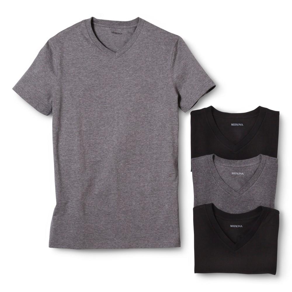 Men's 4pk V-Neck Undershirts - Merona S, Whitecap Gray