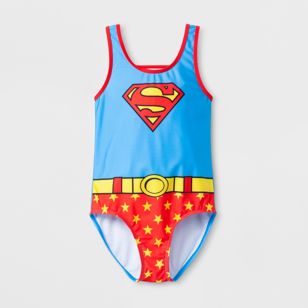 Girls' Supergirl One Piece Swimsuit - Blue S