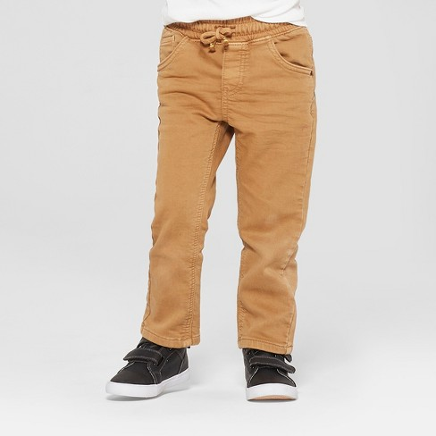 Toddler Boys' Pull-On Straight Jeans - Cat & Jack™ Khaki - image 1 of 3