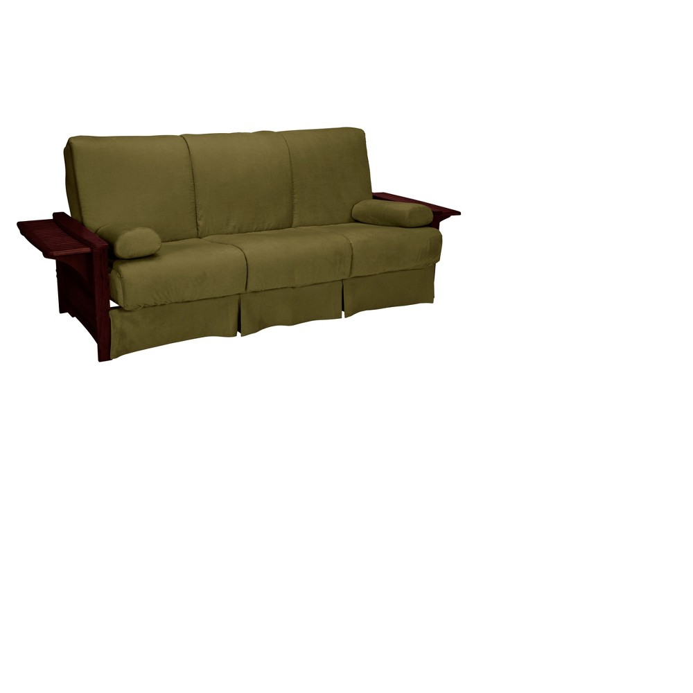 Brooklyn Perfect Futon Sofa Sleeper - Mahogany Wood Finish - Epic Furnishings, Green