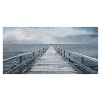 Horizon Light Panel By Studio Arts Wrapped Unframed Wall Canvas Blue - Masterpiece Art Gallery