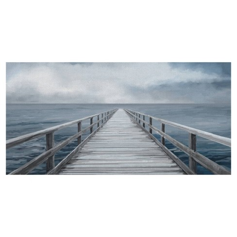 Horizon Light Panel By Studio Arts Wrapped Unframed Wall Canvas Blue - Masterpiece Art Gallery - image 1 of 4