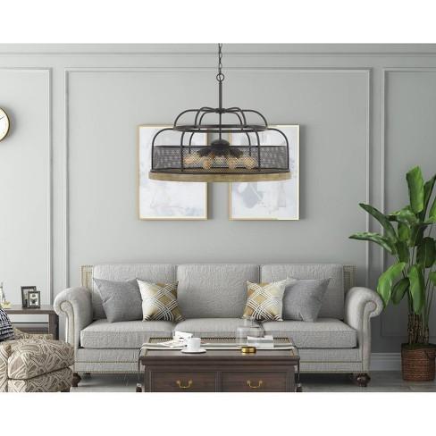 60W X 9 Akaki Metal/Pine Wood Chandelier Iron/Light Oak - Cal Lighting - image 1 of 1
