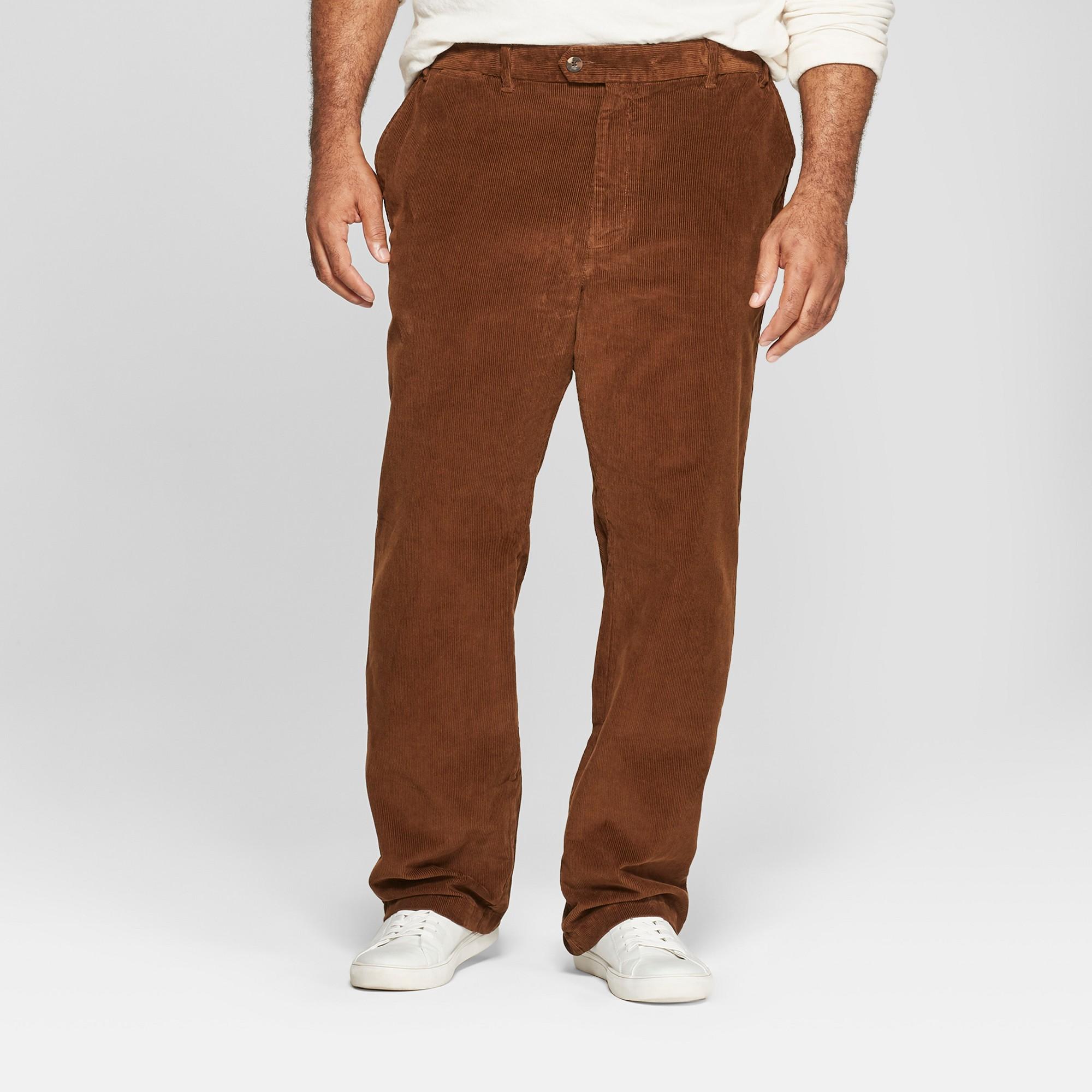 Men's Big & Tall Straight Fit Corduroy Trouser - Goodfellow & Co Stick Brown 46x36