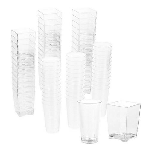 Juvale 72-Piece Set Disposable Clear Plastic 3 Oz Shot Glasses & Square 5 Oz Dessert Appetizer Treat Cups - image 1 of 4