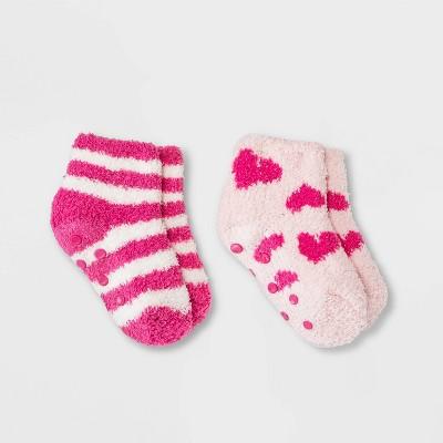 Toddler 2pk Cozy Heart Print Ankle Socks - Cat & Jack™ Pink 6-7