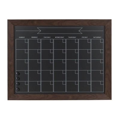 "29"" x 23"" Beatrice Framed Magnetic Chalkboard Calendar Walnut Brown - DesignOvation"