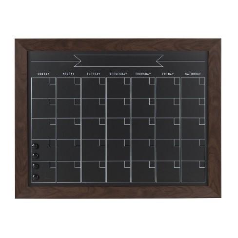 """29"""" x 23"""" Beatrice Framed Magnetic Chalkboard Calendar Walnut Brown - DesignOvation - image 1 of 4"""