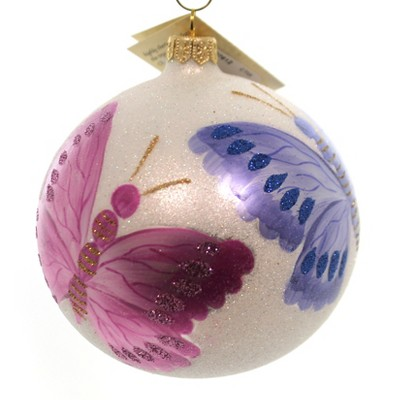 Christina's World White Morning Dew Butterfly Ball Ornament  -  Tree Ornaments