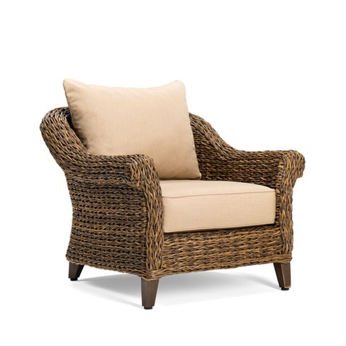 Bahamas Wicker Outdoor Lounge Chair With Sunbrella Canvas Heather Beige Cushion Blue Oak Target
