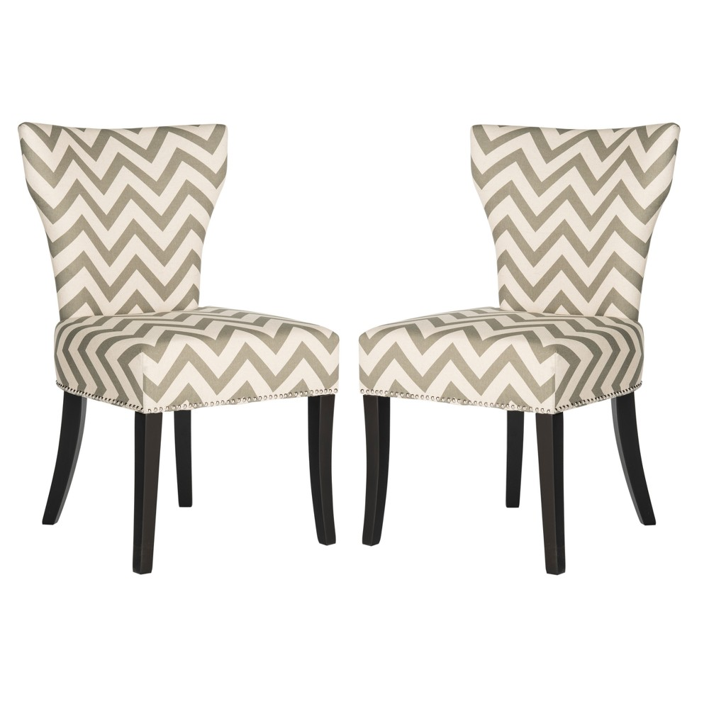 Set of 2 Dining Chairs Gray White - Safavieh