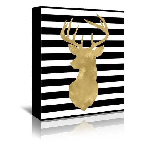 Americanflat Deer Head Left Face Black White Stripe By Amy Brinkman Wrapped Canvas Target