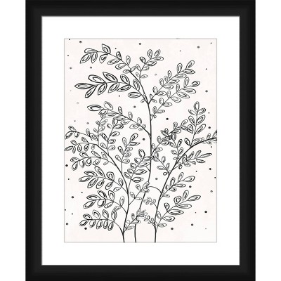 """18"""" x 22"""" Matted to 2"""" Tiny Tiny Leaves Picture Framed Black - PTM Images"""