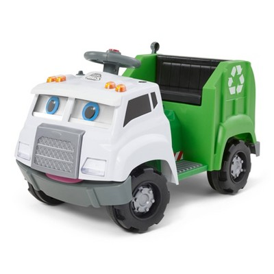 Kid Trax 6V Real Rigs Recycling Truck Interactive Powered Ride-On - Green/White