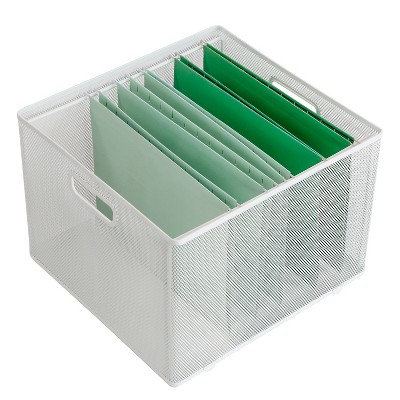"""10"""" x 14"""" x 13.25"""" Mesh Crate File Box White - Made By Design™"""