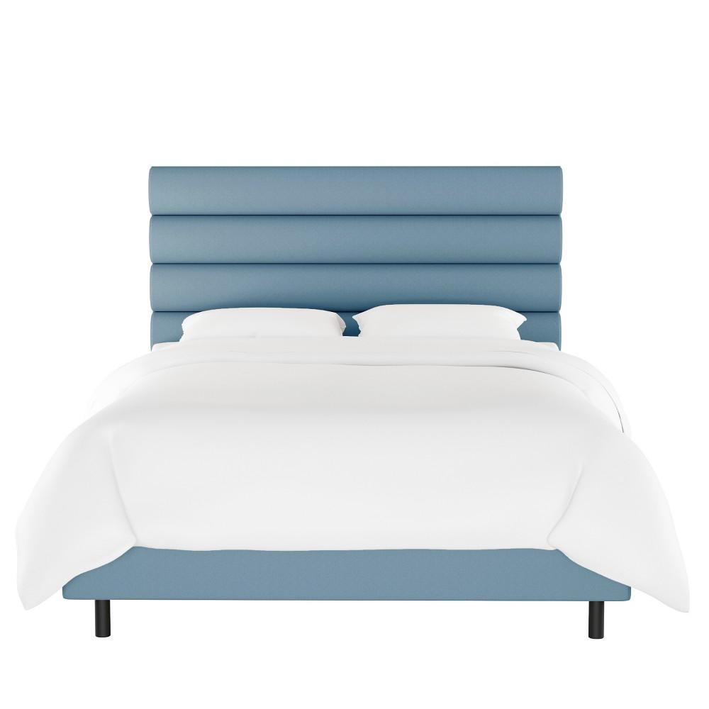 California King Horizontal Channel Bed Light Blue Velvet - Opalhouse