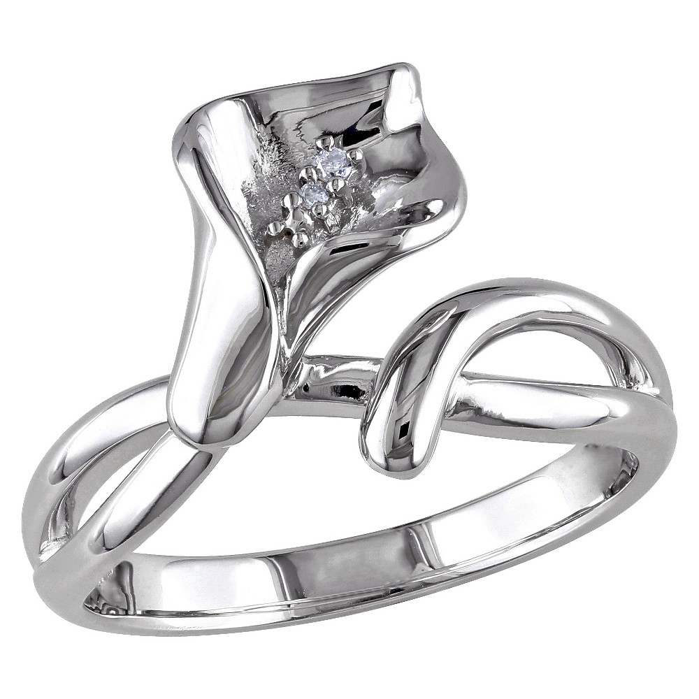 Image of 0.011 CT. T.W. Diamond Calla Lily Ring in Sterling Silver - GH I1:I2 5 - White, Women's