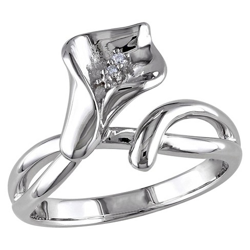 0.011 CT. T.W. Diamond Calla Lily Ring in Sterling Silver (GH) (I1:I2) - image 1 of 3