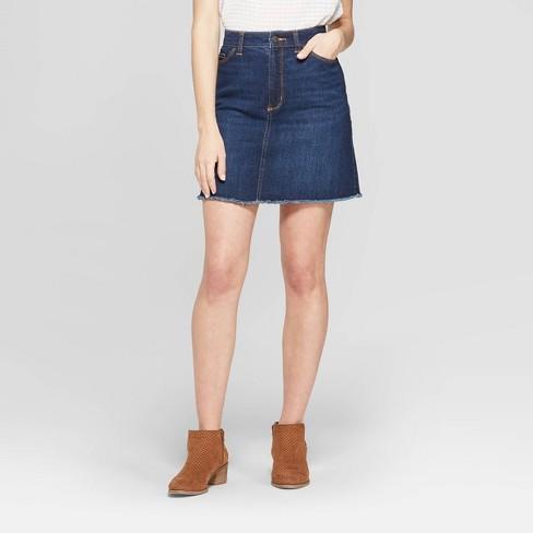 Women's Denim Mini Skirt - Universal Thread™ Dark Wash - image 1 of 3