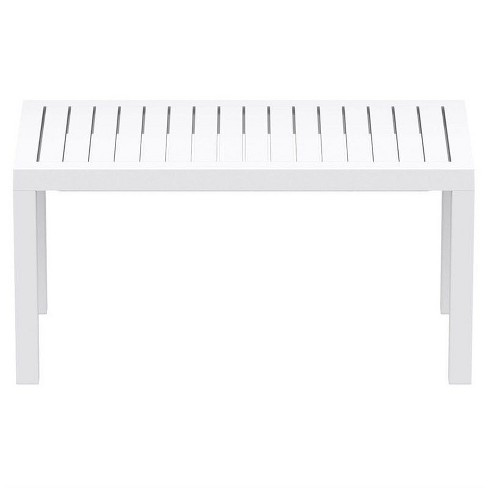 Ocean Square Resin Patio Side Table In White Compamia