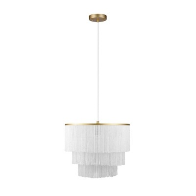 Pendant Light with Fabric Fringe Shade White - Globe Electric