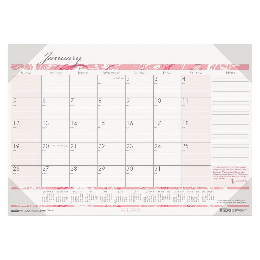 House of Doolittle Breast Cancer Awareness Monthly Desk Pad Calendar, 18 1/2 x 13, 2017, White/Pink/Grey