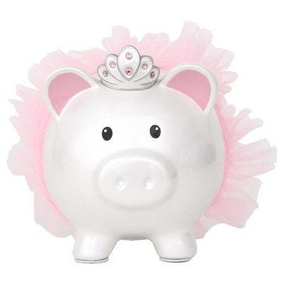 Princess Pig Coin Bank - White