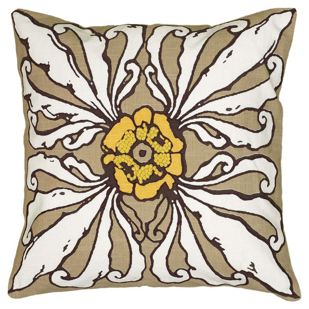 Buff Beige Floral Throw Pillow (18