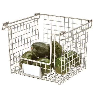 "iDESIGN 10""x10""x7.75"" Classico Stackable Basket Silver"