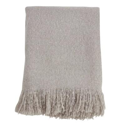 Faux Mohair Throw Blanket Gray - Saro Lifestyle