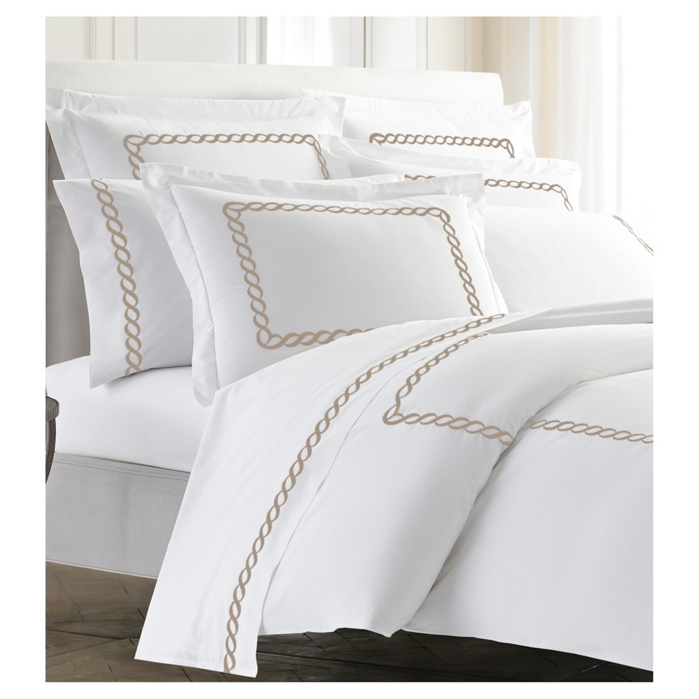 Taupe (Brown) Embroidered Scroll Border Catena Duvet Cover (Full/Queen) Taupe - Kassatex