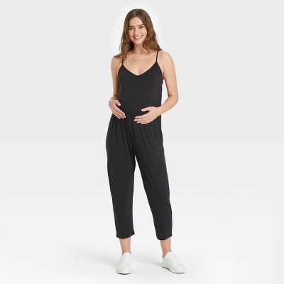 The Nines by HATCH™ Maternity Sleeveless Jersey Jumpsuit Black