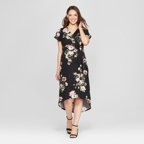 Maternity Striped Floral Print Short Sleeve V Neck High Low Maxi